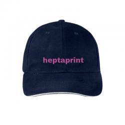 Gorra azul con visera y marca boradada personalizada
